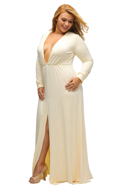 BIG'n'BEAUTIFUL Yellow Long Sleeve Deep V-neck Plus Maxi Dress with Slit