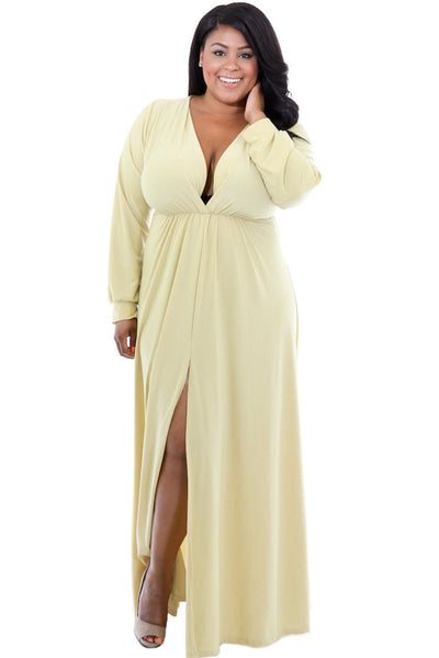 5eb2c187b99ee BIG'n'BEAUTIFUL Yellow Long Sleeve Deep V-neck Plus Maxi Dress with ...