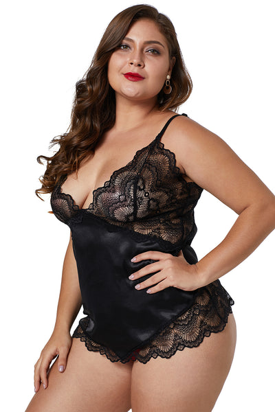 BIG'n'BOLD Black Lace Cups Silky Satin Lingerie Plus Size Chemise