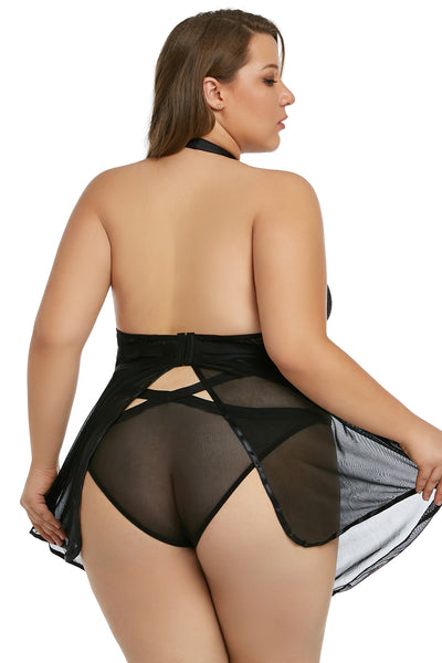 BIG'n'BOLD Black Plus Size Sheer Cheeky Cutback Babydoll Set Lingerie