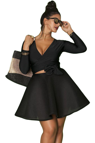 BIG'n'BOLD Black Wrap and Tie Long Sleeve Top Plus Size Skater Dress