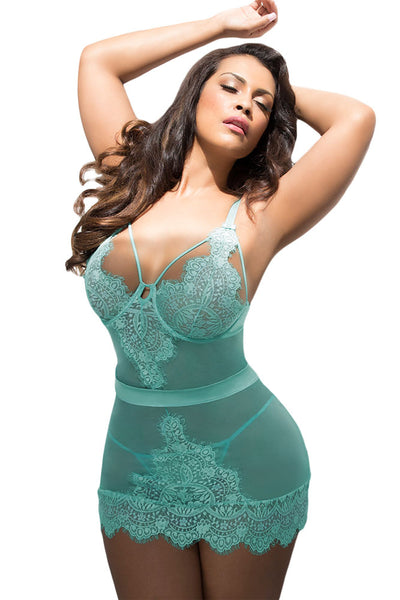 BIG'n'BOLD Blue Eyelash Lace Night Dress Plus Size Lingerie