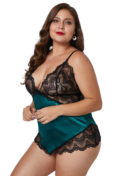 BIG'n'BOLD Green Lace Cups Silky Satin Lingerie Plus Size Chemise