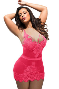 BIG'n'BOLD Pink Eyelash Lace Night Dress Plus Size Lingerie