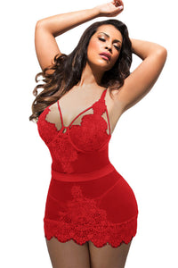 BIG'n'BOLD Red Eyelash Lace Night Dress Plus Size Lingerie