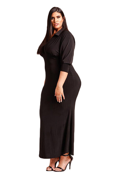 BIG'n'MOD Black Plus Size Collared Deep V Maxi Dress