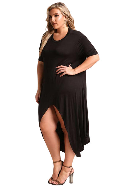 BIG'n'MOD Black Plus Size Hi-Lo Slit Jersey Knit Maxi Dress