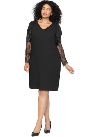 BIG'n'MOD Black Ruffle Trim Lace Sleeve V Neck Plus Size Shift Dress
