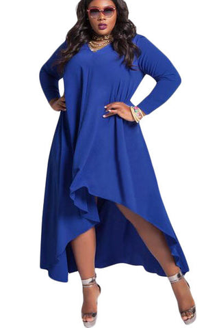 BIG'n'MOD Blue V Neck Long Sleeve High Low Plus Dress