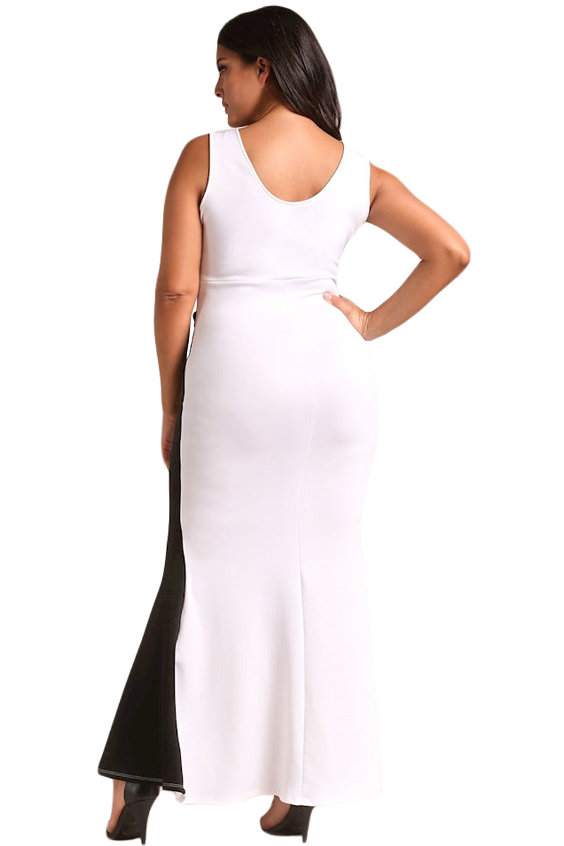 BIG'n'MOD Color Block Cross Strap Plus Size Glamorous Maxi Gown