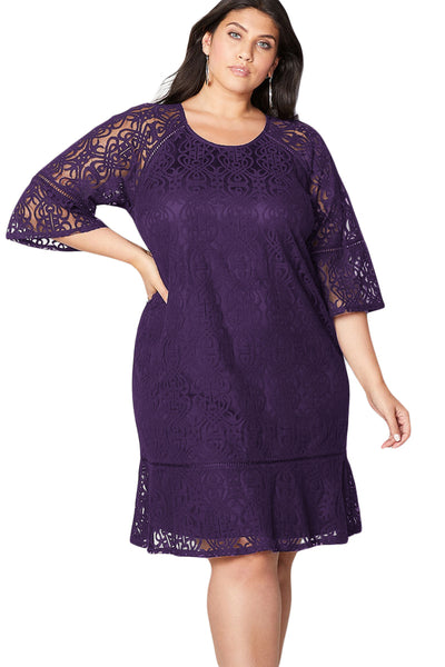 BIG'n'MOD Crochet Lace Overlay Bell Sleeves Black Plus Size Midi Dress