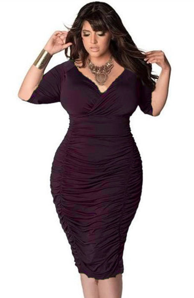 BIG'n'MOD Half Sleeve Deep Red Puckering Deep V-Neck Women Plus Size Dress