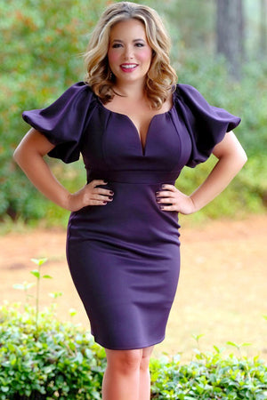 BIG'n'MOD Plum Queen Style Puff Sleeve Plus Size Bodycon Dress