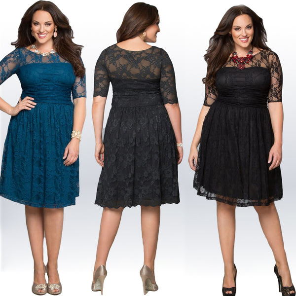 BIG'n'MOD Plus Size Women  Black Lace Skater Her Fashion Midi Dress