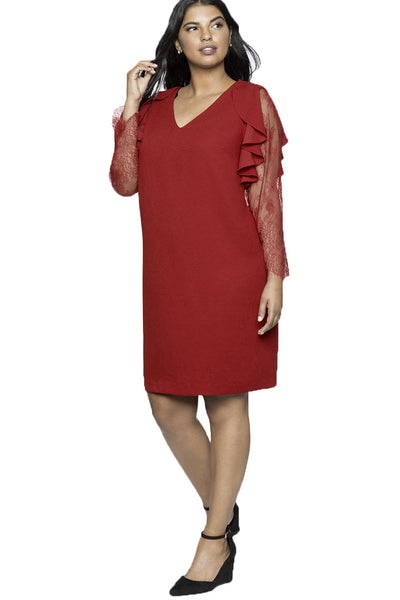 BIG\'n\'MOD Red Ruffle Trim Lace Sleeve V Neck Plus Size Shift Dress