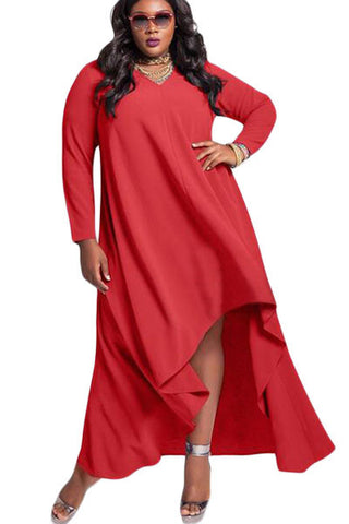 BIG'n'MOD Red V Neck Long Sleeve High Low Plus Dress