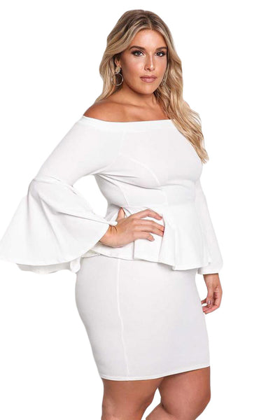 BIG\'n\'MOD White Off The Shoulder Bell Sleeves Peplum Plus Size Dress