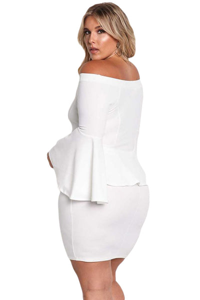 BIG'n'MOD White Off The Shoulder Bell Sleeves Peplum Plus Size Dress