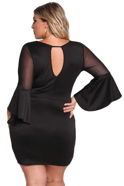 BIG'n'TRENDY Black Plus Size Mesh Trim Bell Sleeve Bodycon Dress
