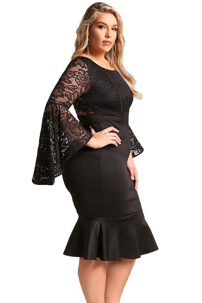 BIG'n'TRENDY Red Plus Size Lace Bell Sleeve Mermaid ...