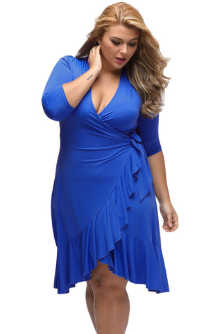 BIG'n'TRENDY Blue Chic And Feminine Style Plus Size Wrap Dress