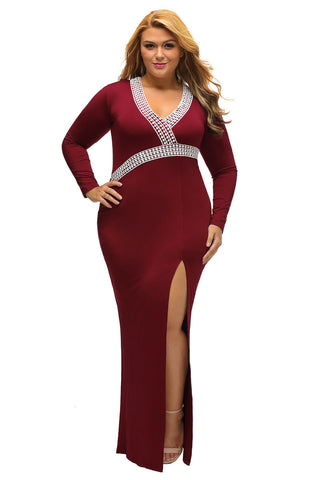 BIG'n'TRENDY Burgundy Plus V Neck High Slit Plus Size Maxi Dress