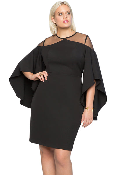 BIG'n'TRENDY Gorgeous Black Mesh Illusion Cold Shoulder PlusSize Dress