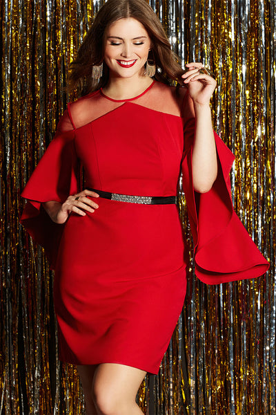 BIG'n'TRENDY Gorgeous Red Mesh Illusion Cold Shoulder PlusSize Dress