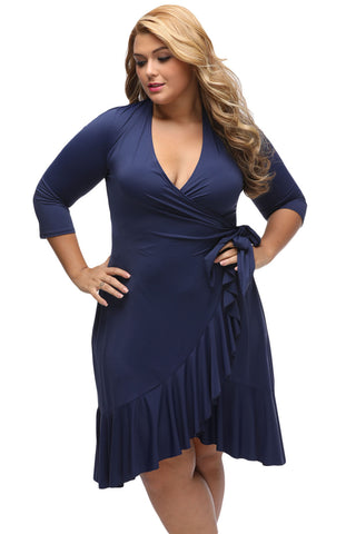 BIG'n'TRENDY Navy Blue Chic And Feminine Style Plus Size Wrap Dress