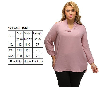 BIG'n'TRENDY Pink Top Caged Shoulder Split Collar Plus Size Blouse