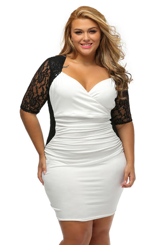 BIG'n'TRENDY Stunning Black White Ruched Lace Illusion Plus Dress