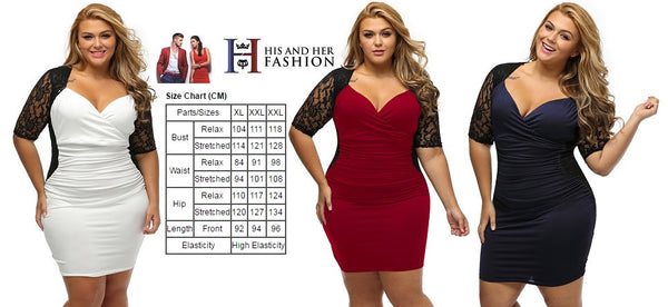 BIG'n'TRENDY Stunning Black Burgundy Ruched Lace Illusion Plus Dress