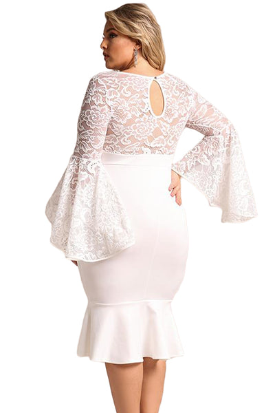 BIG'n'TRENDY Red Plus Size Lace Bell Sleeve Mermaid Bodycon Dress