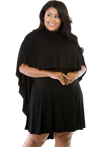 BIG'n'Trendy Cape Overlay Black Curvaceous Dress