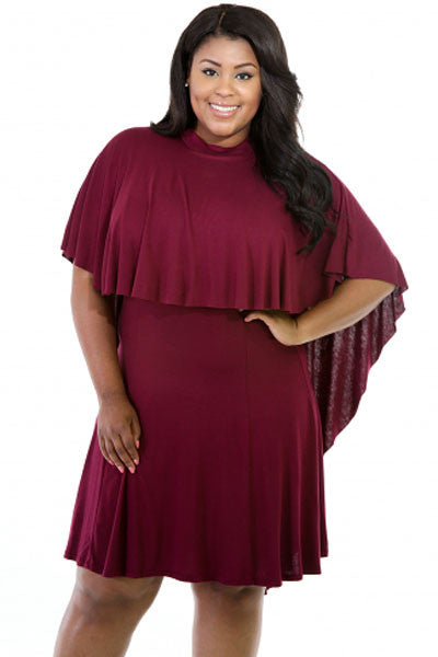 BIG'n'Trendy Cape Overlay Red Curvaceous Dress