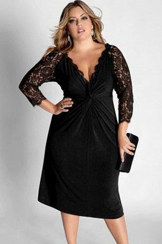 BIG'n'Trendy Cocktail Dress with Lace Sleeves