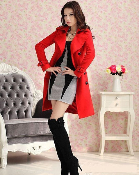 Red Slim Warm Winter Wool Woolen Jacket Outwear Long Trench Coats Pea Coats