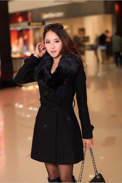 Winter Woolen Blend Black Trench Coat Faux Collar Double-Breasted Jacket