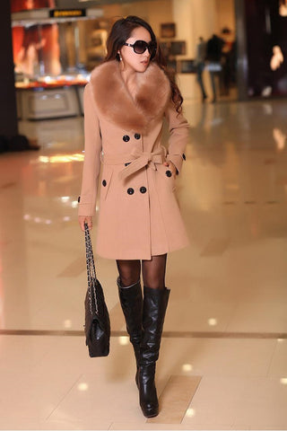 Winter Woolen Blend Trench Coat Blazer /  Long Faux Collar /  Belted Double-Breasted JACKET