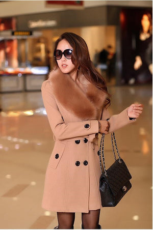 Winter Woolen Blend Camel Trench Coat Faux Collar Double-Breasted Jacket