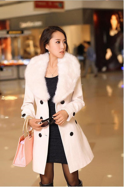 Winter Woolen Blend Grey Trench Coat Faux Collar Double-Breasted Jacket