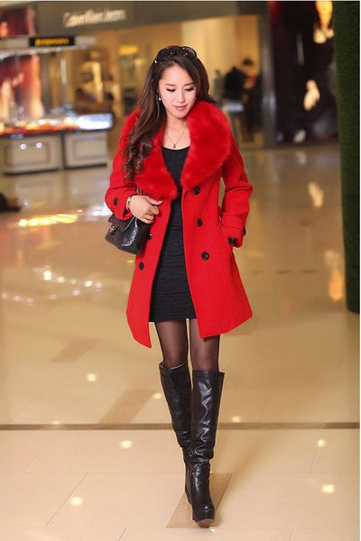 Winter Woolen Blend Plus Size Red Trench Coat Faux Collar Jacket