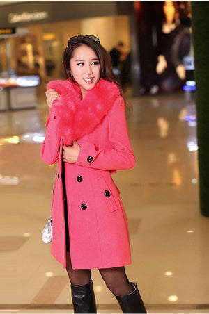 Winter Woolen Blend Trench Coat Faux Collar Double-Breasted Jacket