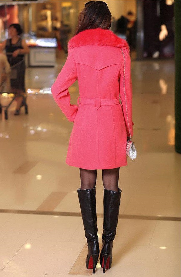 Winter Woolen Blend Plus Size Pink Trench Coat Faux Collar Jacket