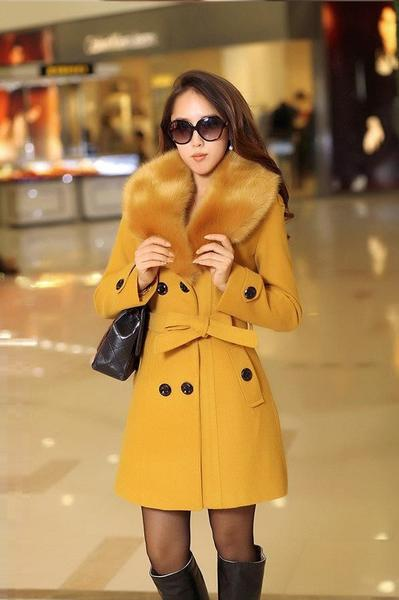 Winter Woolen Blend Plus Size Trench Coat Faux Collar Jacket