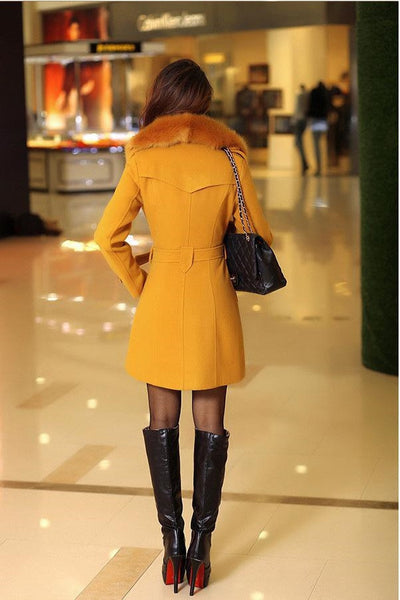 Winter Woolen Blend Yellow Trench Coat Faux Collar Double-Breasted Jacket