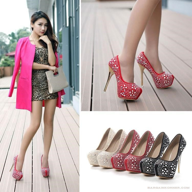 """Elegant Series"" High Heels Platform Pumps with Diamond  Shoes"
