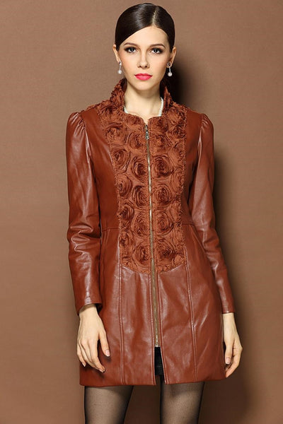 Latest European Retro Elegant Long-Sleeved Heavy Beaded Stitching Leather Jacket  (New Arrival 2015)