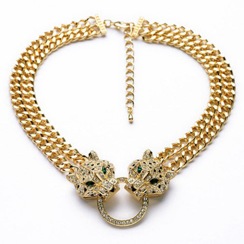 """Elegant Series"" Leopard Head Pendant Double-Layer Necklace"