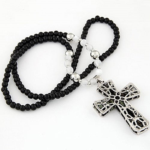 """Mod Series"" Rhinestone Embellished Cross Shape Pendant Necklace"